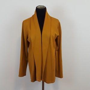 Joan Vass mustard yellow open knit cardigan